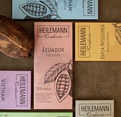 Ursprungsschokoladen von Confiserie Heilemann