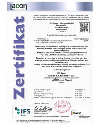 Zertifikat IFS Food 2021